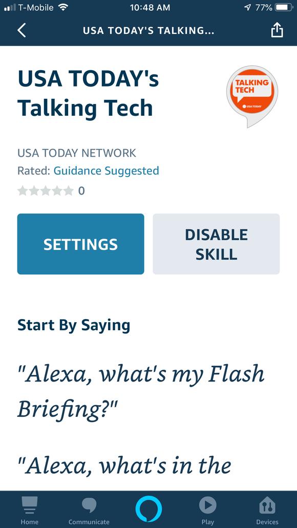 How flash briefing skill work? As easy as 'Alexa, play Talking Tech'