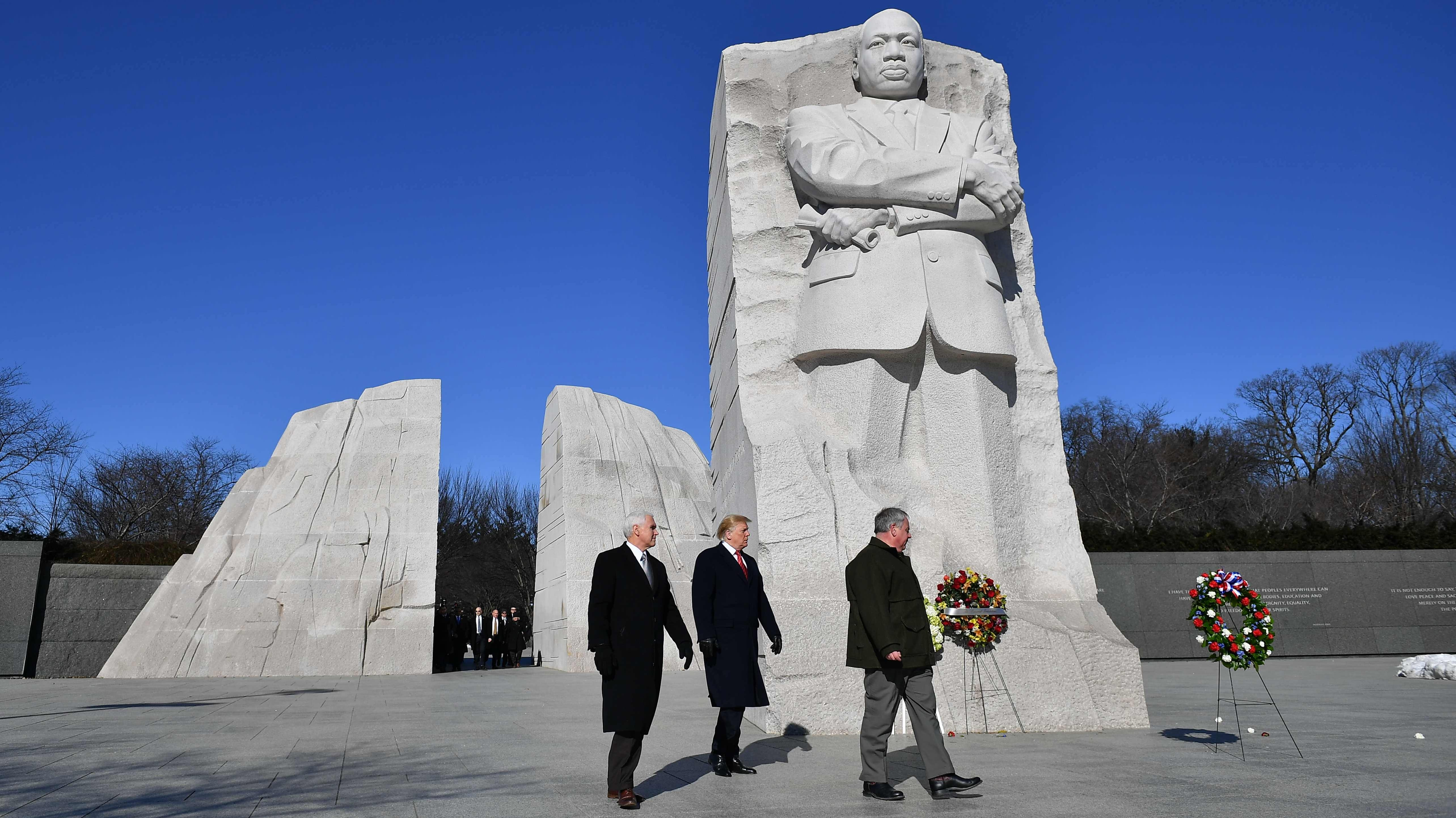 President Donald Trump Vice President Mike Pence visit the Martin Luther King Jr. Memorial in Washington on Jan. 21, 2019.