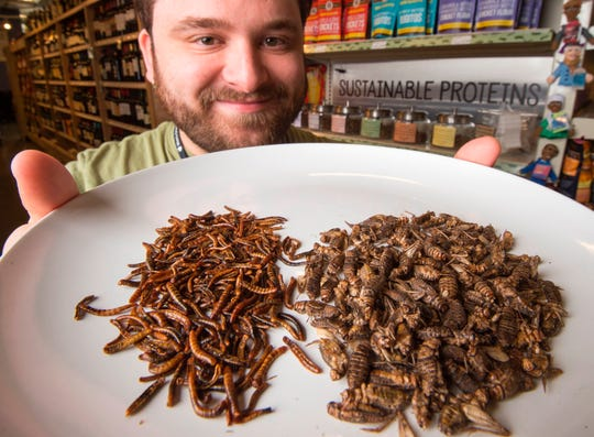 Kyle Morgan, grocery manager at MOM's Organic Market in Washington, D.C., holds a dinner plate of whole mealworms and Moroccan crickets.