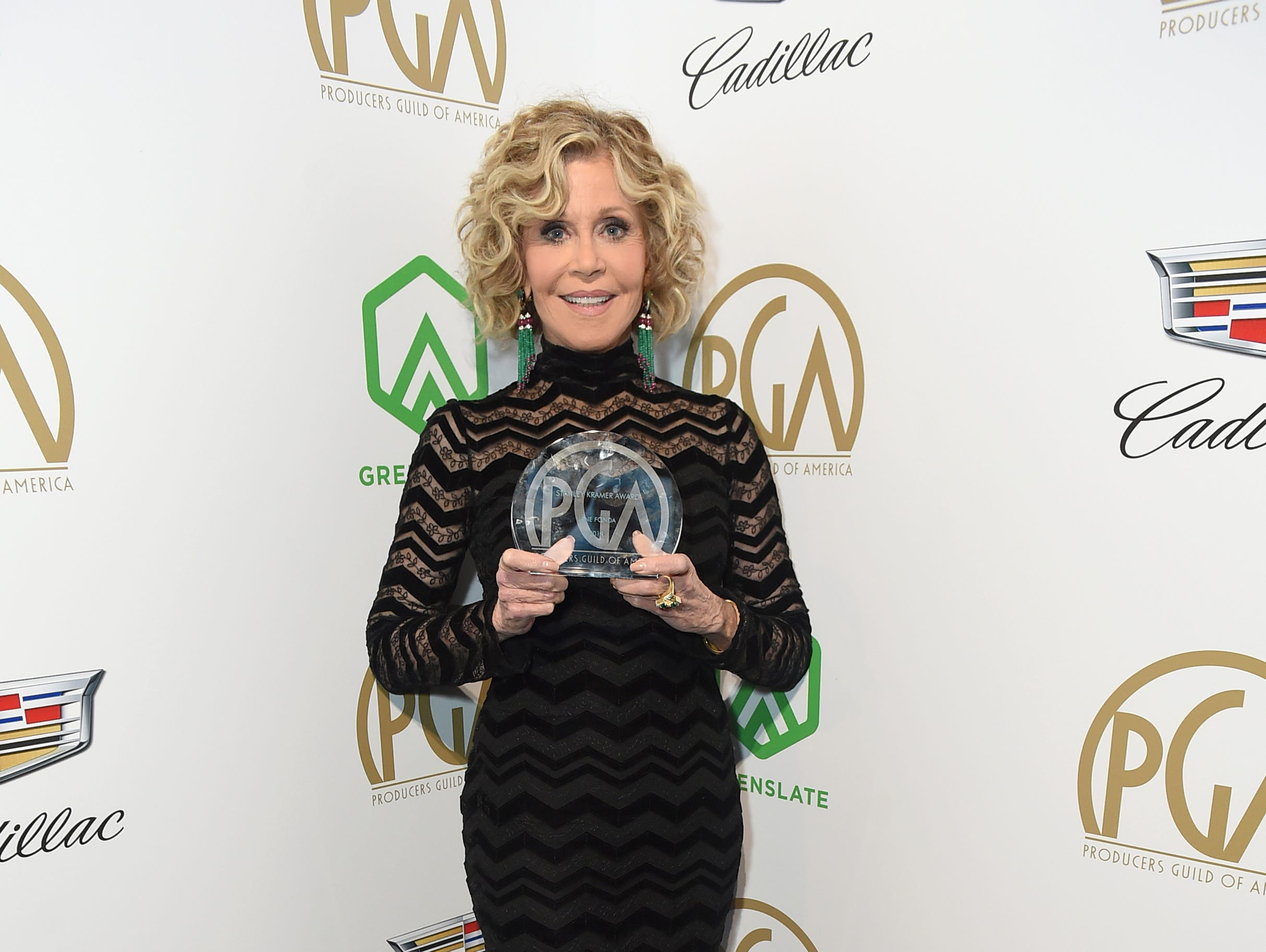 IMAGE DISTRIBUTED FOR PRODUCERS GUILD OF AMERICA - EXCLUSIVE - Jane Fonda poses with the Stanley Kramer Award at the 30th Producers Guild Awards presented by Cadillac at the Beverly Hilton on Saturday, Jan. 19, 2019, in Beverly Hills, Calif. (Photo by Jordan Strauss/Invision for Producers Guild of America/AP Images) ORG XMIT: CALB155