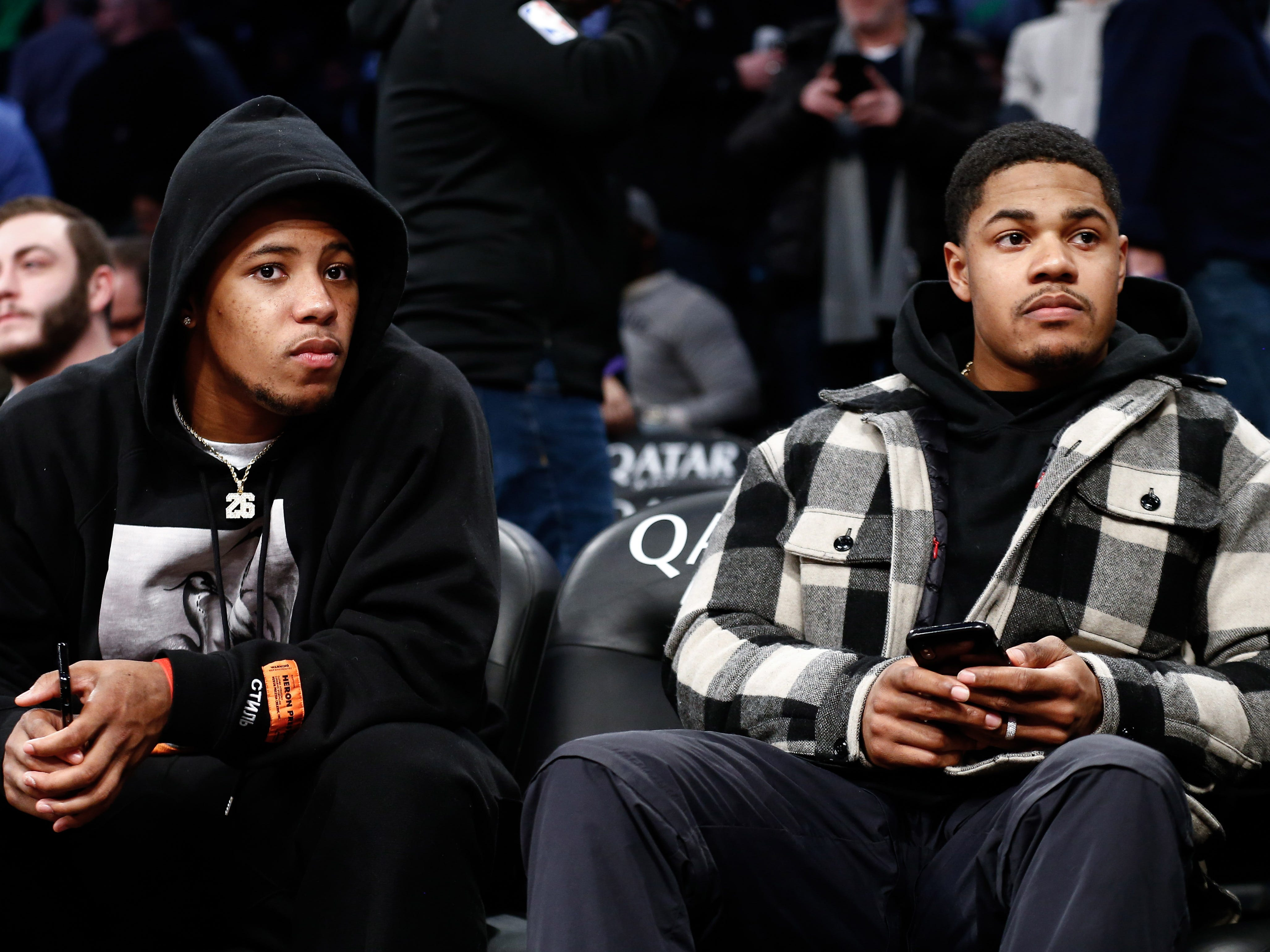 Jan. 21: New York Giants players Saquon Barkley and Sterling Shepard sit courtside at the Nets-Kings game at Barclays Center.
