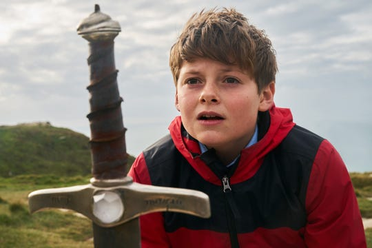 "Louis Ashbourne Serkis stars as the baby-faced Arthurian hero of ""The Kid Who Would Be King."""