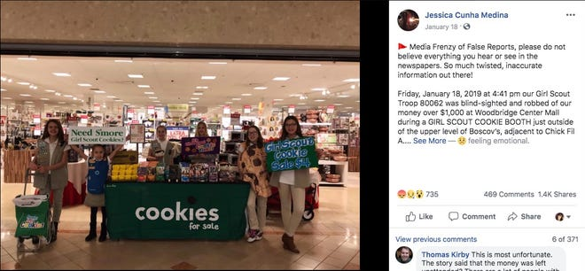 A parent shared this photo of a New Jersey Girl Scout troop that she says was robbed of $1,000 while selling cookies at a mall.