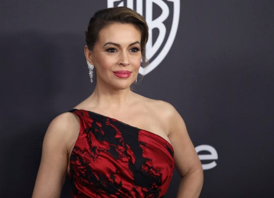 Alyssa Milano arrives at the InStyle and Warner Bros. Golden Globes after party at the Beverly Hilton Hotel on Jan. 6, 2019, in Beverly Hills, Calif.