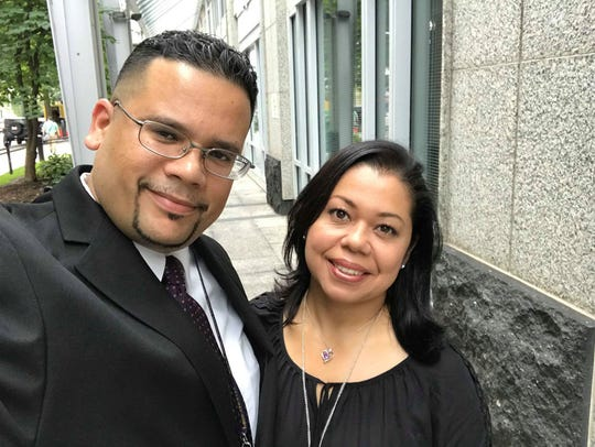 Joel Rodriguez and his wife, Marlin Benitez, pose in Washington, D.C.