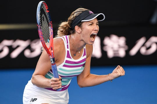 Danielle Collins of the U.S. celebrates her victory against Russia's Anastasia Pavlyuchenkova during their women's singles quarterfinal match on day nine of the Australian Open on Jan. 22.