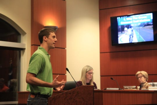 Chad Carson presents a proposed first step on the Green Crescent Trail to the Clemson city council.