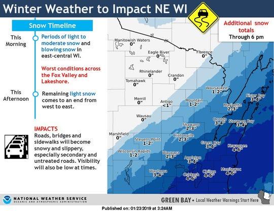 Updated northeast Wisconsin snow totals