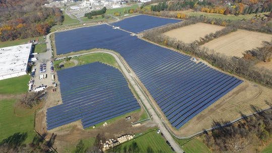 An aerial view of DSM North America's 66-acre array in Belvidere. This is the largest solar farm in the state, capable of powering the vitamin plant on site with enough electricity left over for 400 homes.