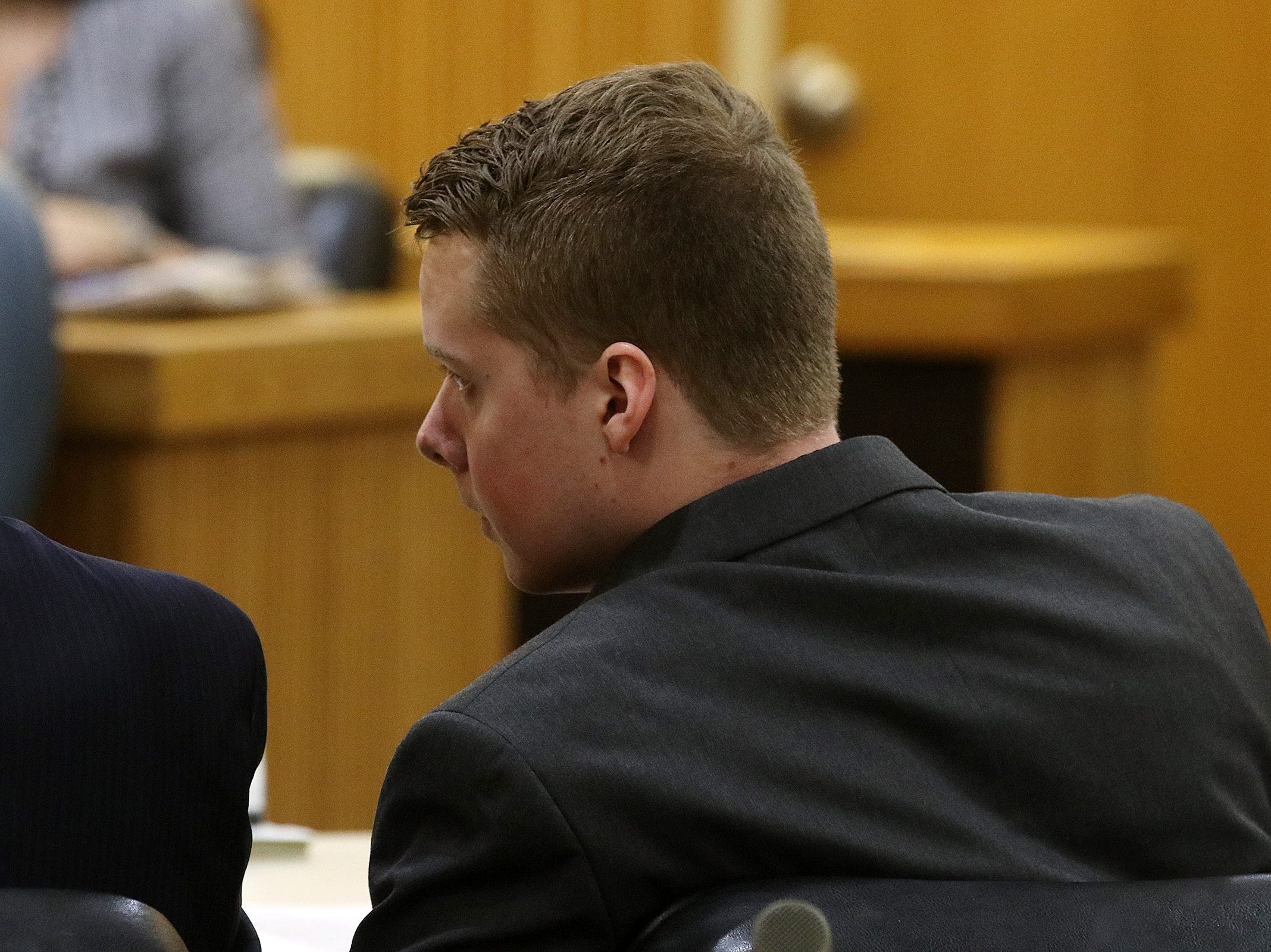 Liam McAtasney, who is charged with the murder of former high school classmate, Sarah Stern, appears for the first day of trial before Superior Court Judge Richard W. English at the Monmouth County Courthouse in Freehold, NJ Wednesday January 23, 2019.
