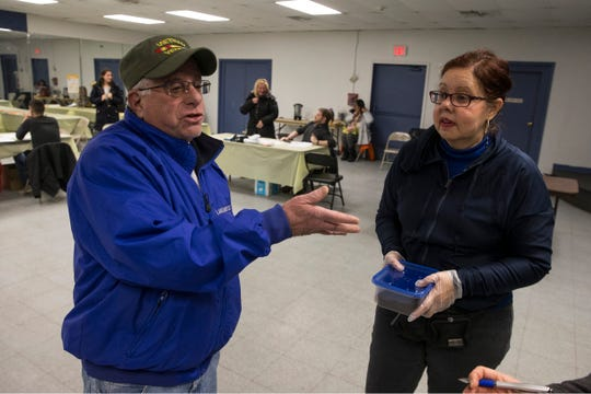 Jeff Shapiro, supervisor, Lakewood Recreation, and Wanda Alfaro, Ending Homeless Program, talk about the services offered at Lakewood Community Center. New Jersey housing advocates conduct the state's annual NJCounts, a point-in-time count of homelessness.       