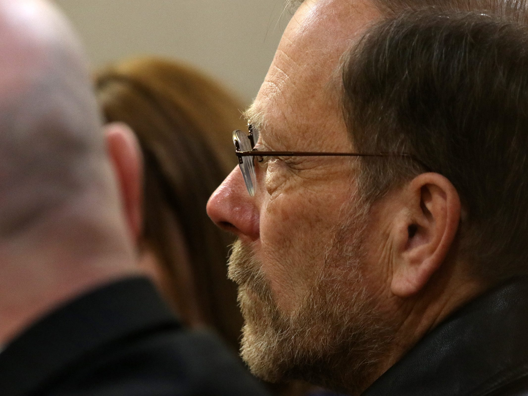 Michael Stern, father of Sarah Stern, sits in the courtroom as Liam McAtasney, who is charged with the murder of former high school classmate, Sarah Stern, appears for the first day of trial before Superior Court Judge Richard W. English at the Monmouth County Courthouse in Freehold, NJ Wednesday January 23, 2019.