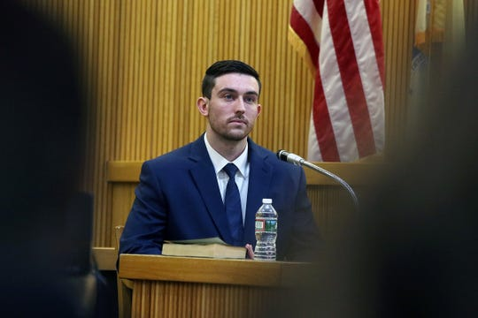 Preston Taylor, who plead guilty to charges in the Sarah Stern case, testifies during the trial of Liam McAtasney, who is charged with the murder of former high school classmate, Sarah Stern, before Superior Court Judge Richard W. English at the Monmouth County Courthouse in Freehold, NJ Wednesday January 23, 2019.