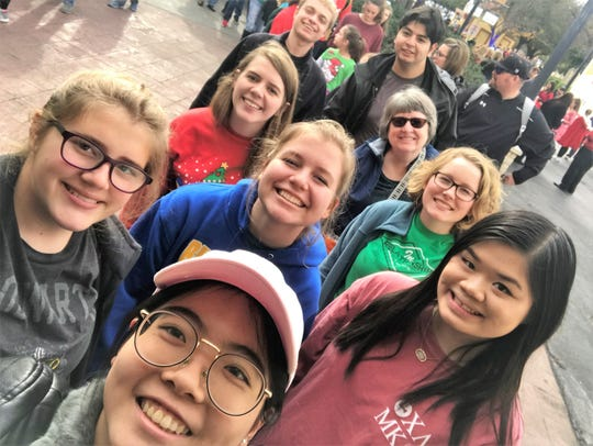 McMurry University students, with Yuwei Bao in front, enjoying their mission trip.