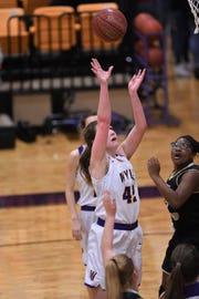 Wylie's Bailey Roberts (42) lets go of a shot against Wichita Falls Rider at Bulldog Gym on Tuesday, Jan. 22, 2019. The Lady Bulldogs won 69-30.
