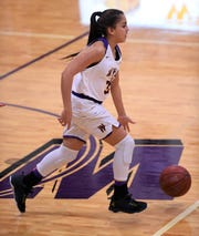 Wylie's Valery Alvarado (35) will get increased playing time with the latest injury to Emma Melton.  The senior guard is one of several options the Lady Bulldogs have since moving players up from junior varsity.