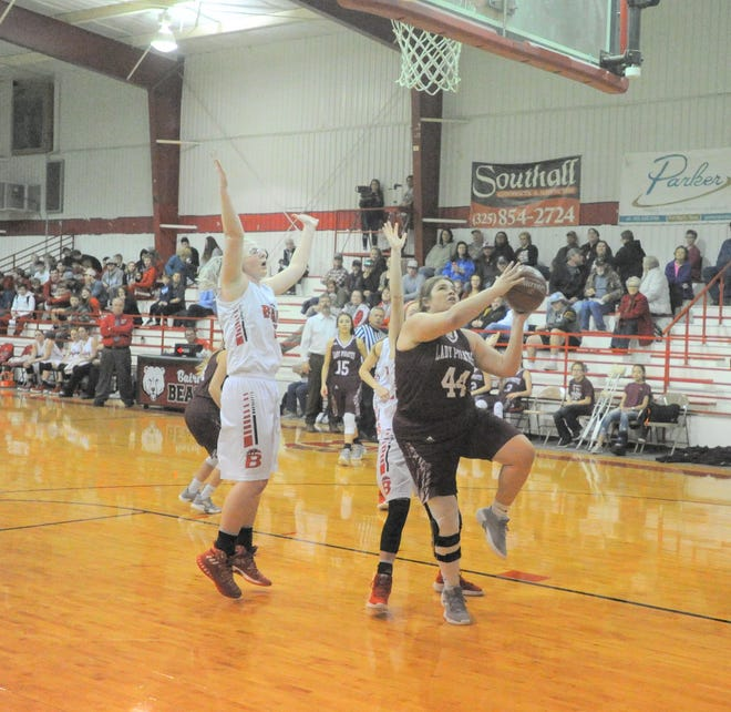 Eula senior Abbey Matties (44) goes up for a shot under the basket in Tuesday's game against Baird at the Bears Den.
