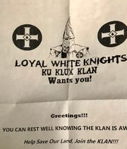 Fliers with information about the KKK were distributed in some parts of Asheville on Monday, Martin Luther King  Jr. Day.