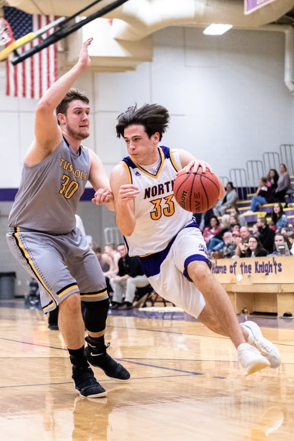 Tuscola's Landon Henley guards North Henderson's Gabe Murphy as he drives to the basket during their game Jan. 22, 2019. Tuscola won 75-55.