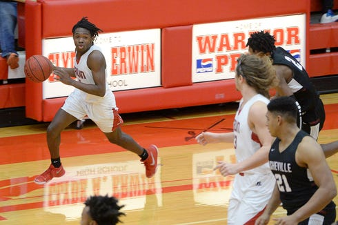 Erwin's Rashod Chaffin, shown during a game earlier this season, scored 26 points in the Warriors' upset of Tuscola on Friday night.