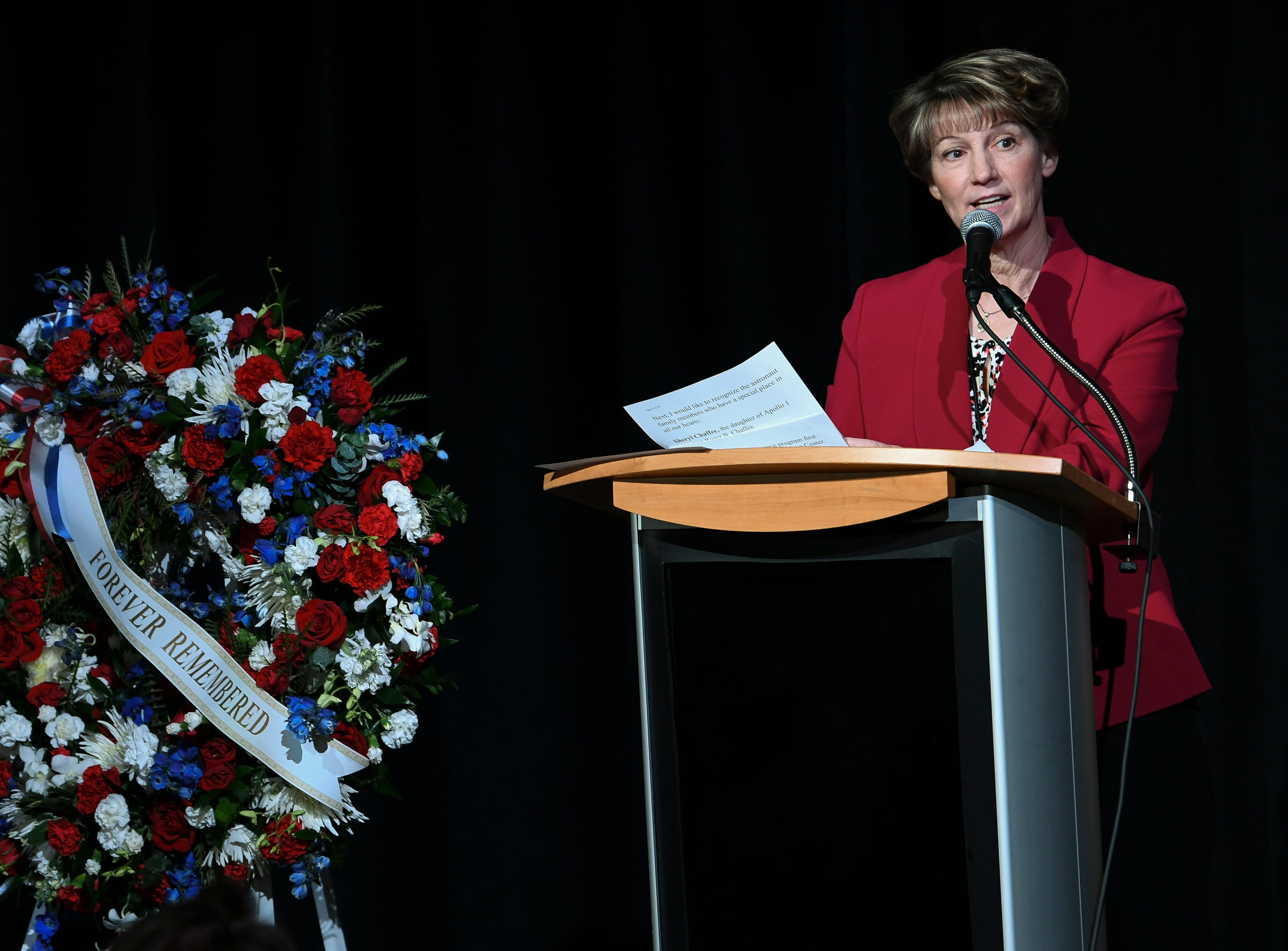 Elmira native Eileen Collins, Board Chairman of The Astronauts Memorial Foundation, addressed the crowd Thursday morning during Kennedy Space Center's Day of Remembrance.  The annual event honors those who perished in the space program.