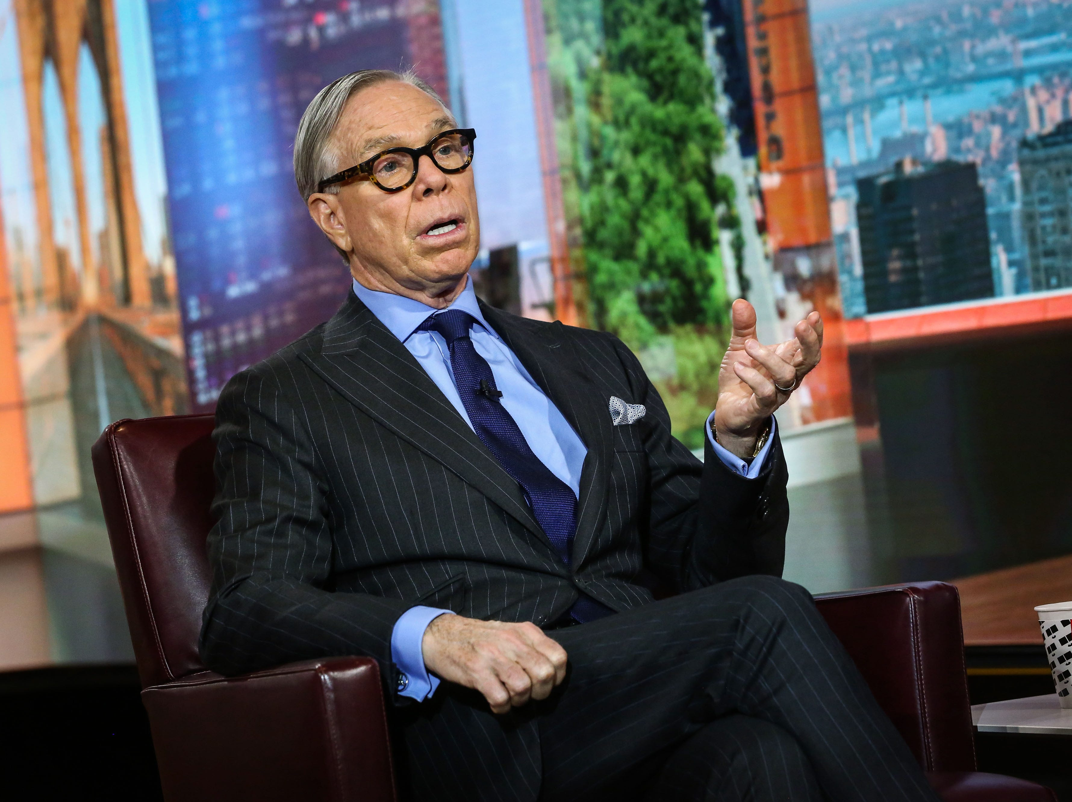 Tommy Hilfiger speaks during a Bloomberg Television interview in New York on Oct. 25, 2017. Hilfiger was born in Elmira, NY.