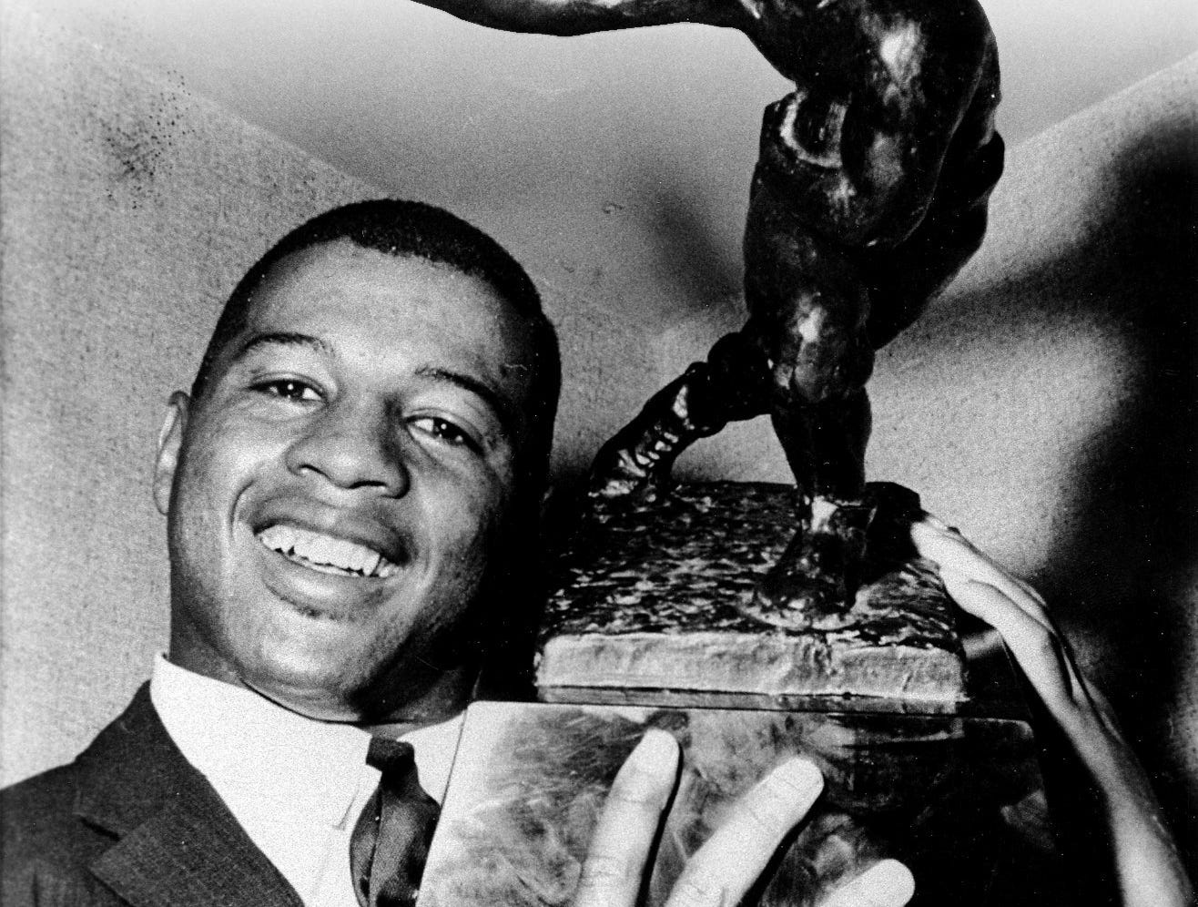 On Nov. 28, 1961, Ernie Davis of Syracuse University became the first African-American to be named winner of the Heisman Trophy. Davis grew up in Elmira.