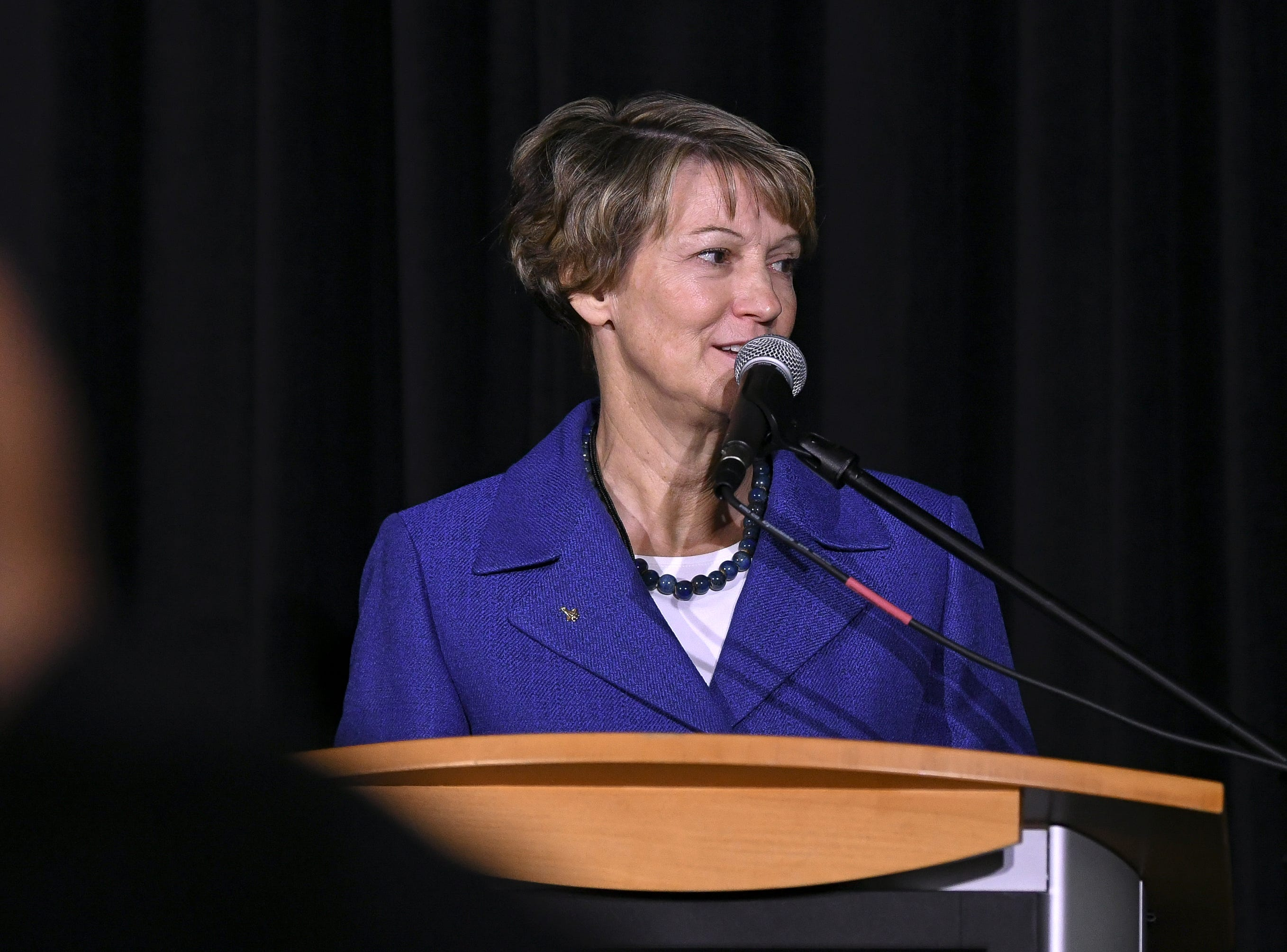 Astronaut and Elmira native Eileen Collins addresses the crowd at a memorial for astronaut Robert H. Lawrence, Jr at Kennedy Space Center Visitor Complex