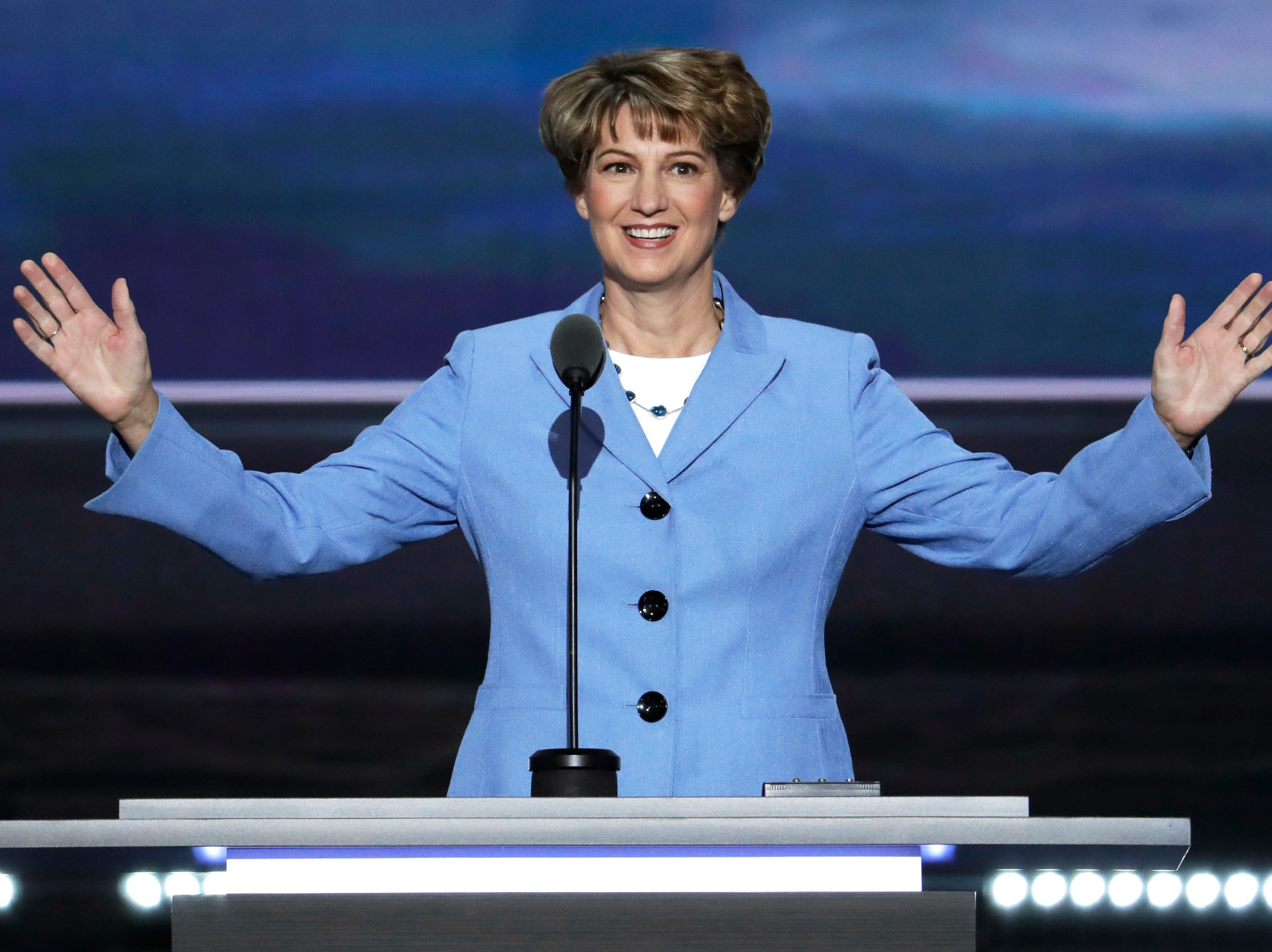 Astronaut Eileen Collins and Elmira native speaks during the third day of the Republican National Convention in Cleveland, Wednesday, July 20, 2016.