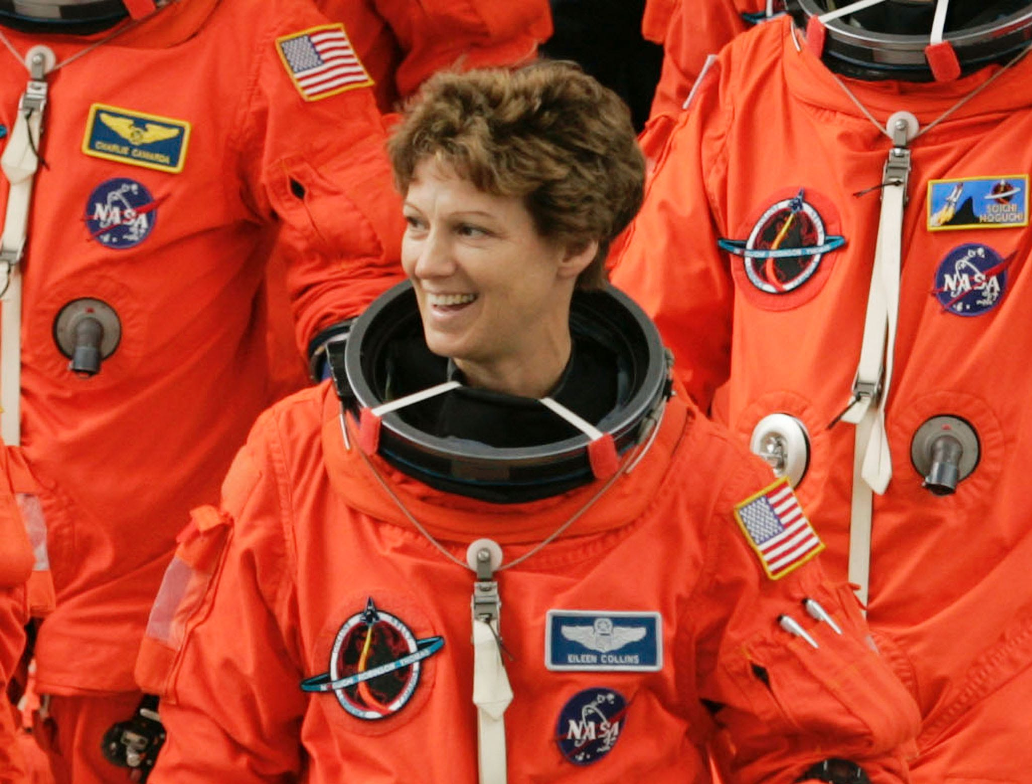 Space Shuttle Discovery commander Eileen Collins walks from the crew area to the astronaut van to be driven to the launch pad at the Kennedy Space Center July 13, 2005 in Cape Canaveral, Florida. Collins is a native of Elmira, NY.