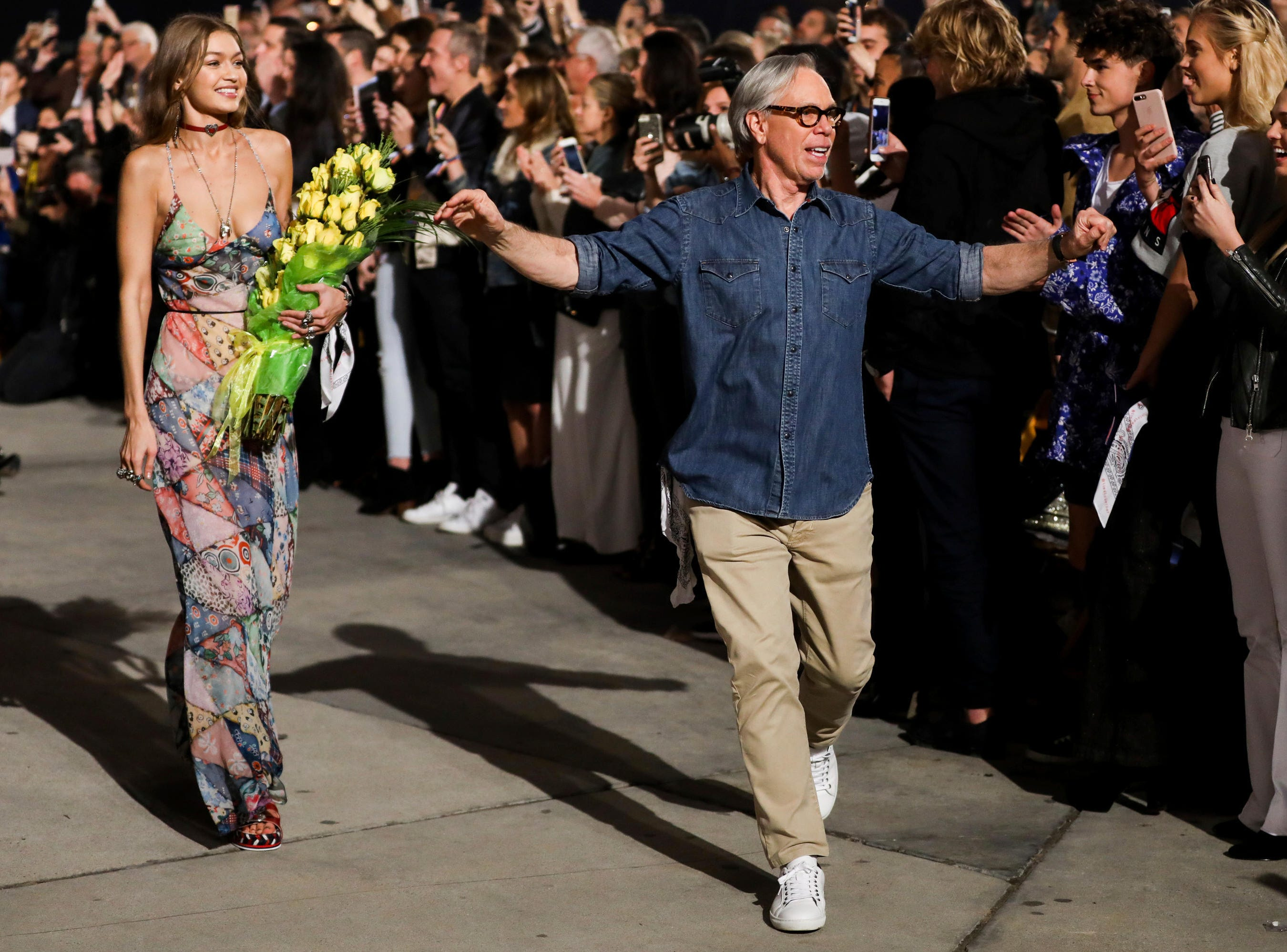 Tommy Hilfiger, a native of Elmira, walks the runway at the Tommy Hilfiger TommyxGigi Runway Show at Venice Beach on Wednesday, Feb. 8, 2017 in Los Angeles.