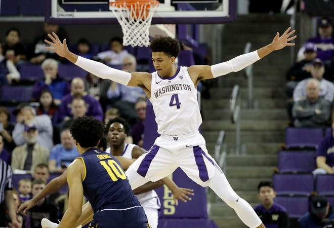 Washington's Matisse Thybulle harasses a California player during a Jan. 19 win in Seattle. Thybulle and the Huskies are 5-0 in Pac-12 play, but face a tougher stretch of schedule in the coming weeks.