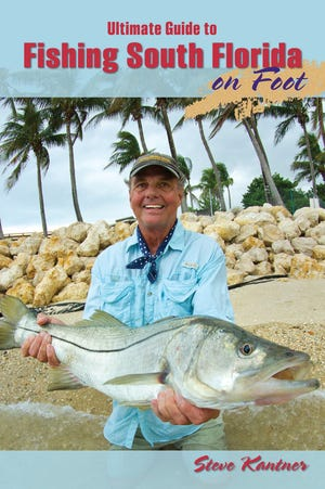This cover photo of Steve Kantner's book shows him with a trophy-size snook that he released. In the 253-page all-color publication Kantner covers hundreds of shore-bound fishing locations, how to fish them, and the species that can be caught.