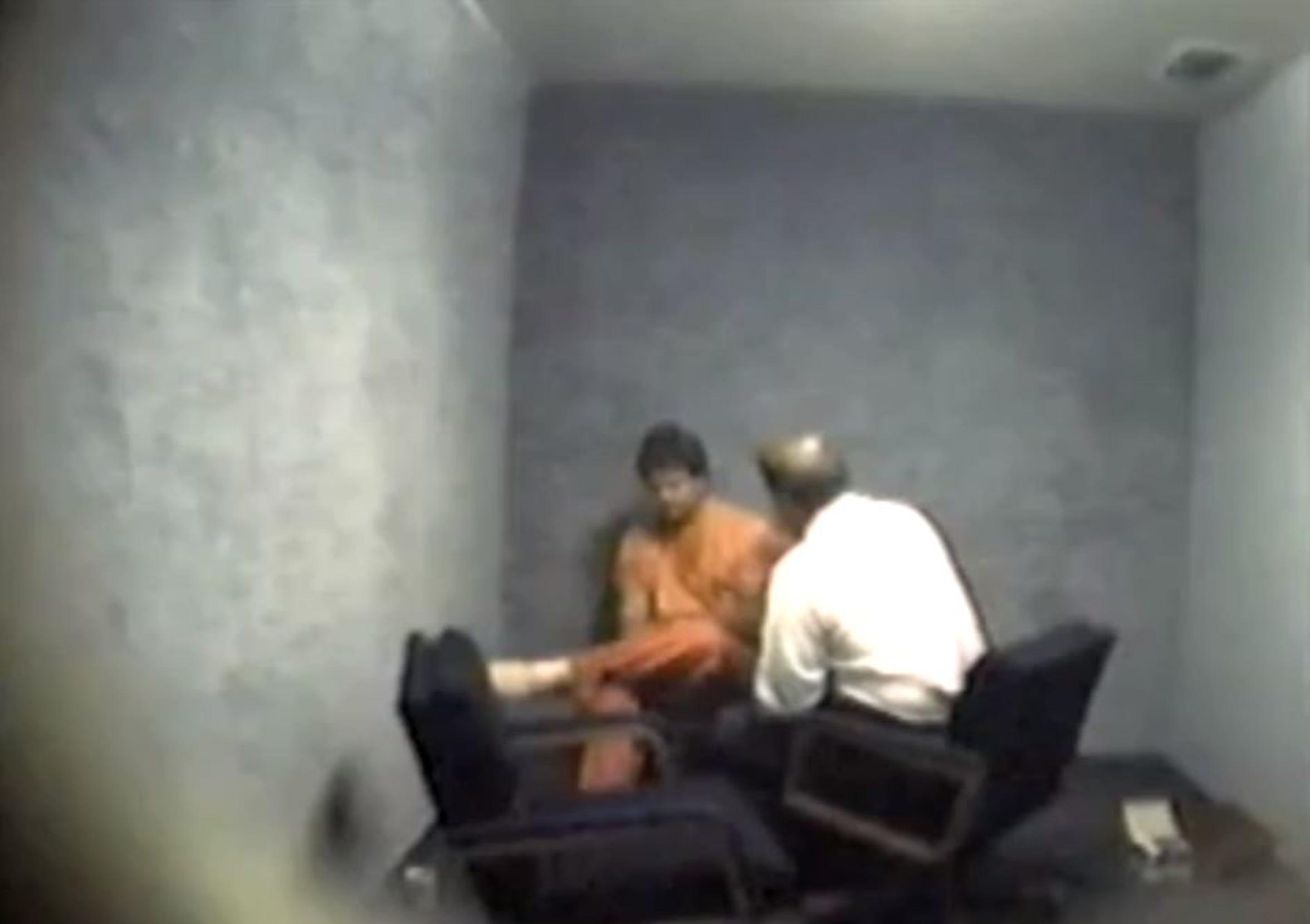 Jeff Abramowski is interrogated following his arrest on suspicion of murder in 2002.