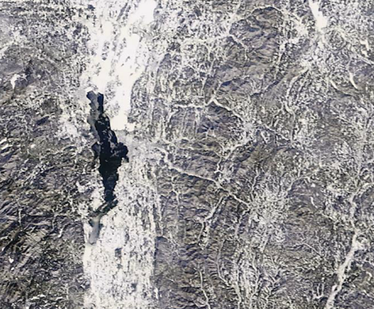 Most of the Champlain Valley (dark area is Lake Champlain) was hit by a blizzard on Sunday, Jan. 20 — as seen in this satellite photo taken on Jan. 21, 2019.