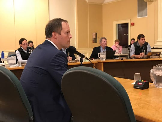Chase Martin, senior vice president of Brookfield Properties, addresses the Burlington City Council for the first time on Tuesday night, Jan. 22, 2019.