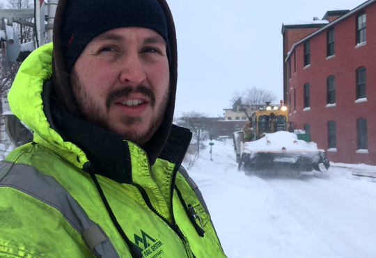 Ryan Carlson, a track foreman for Vermont Rail System, oversees snow removal from tracks along Burlington's waterfront on Monday, Jan. 21, 2019.