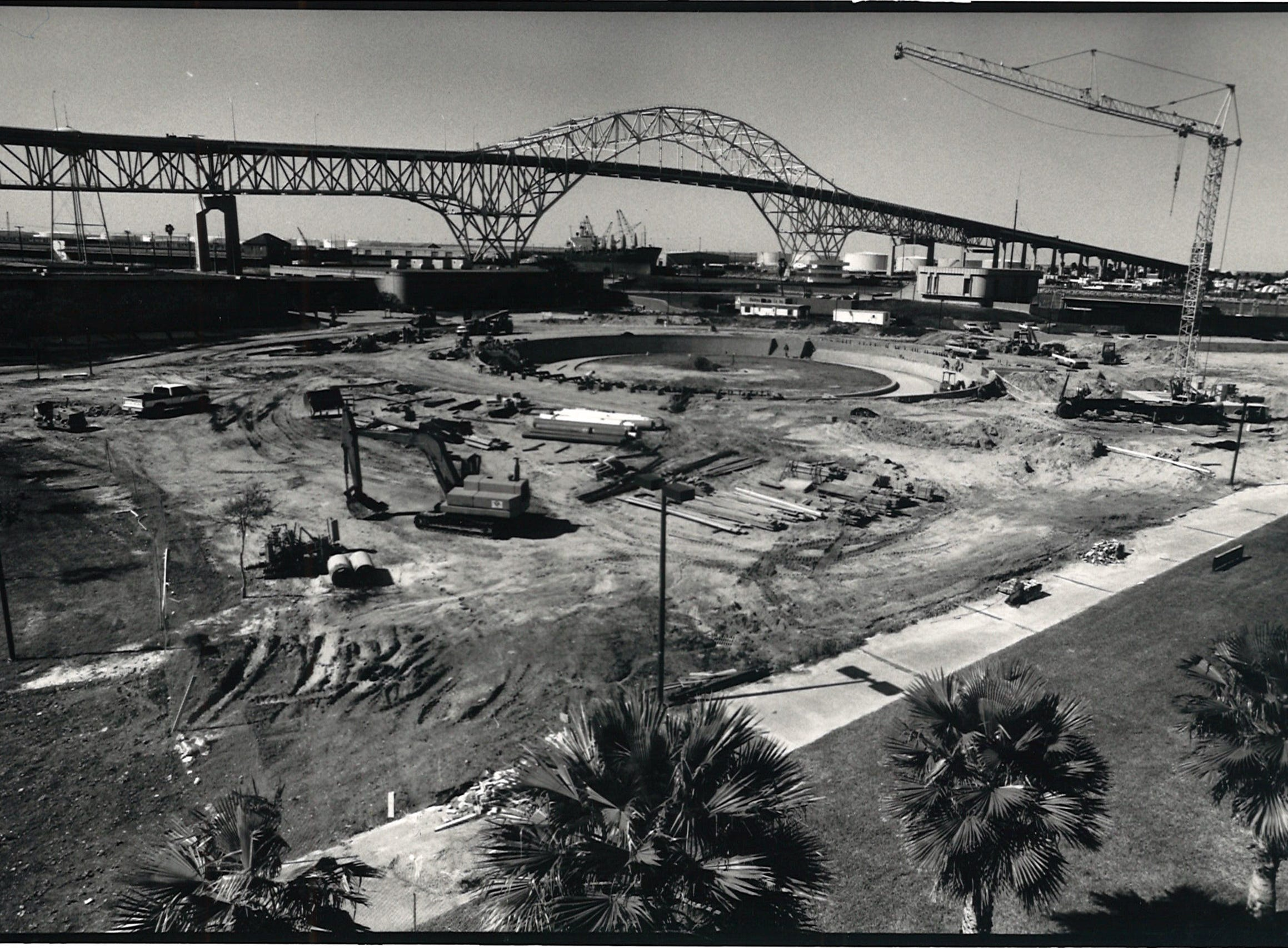 The Watergarden under construction at the Bayfront Arts and Science complex in Corpus Christi on March 19, 1988.
