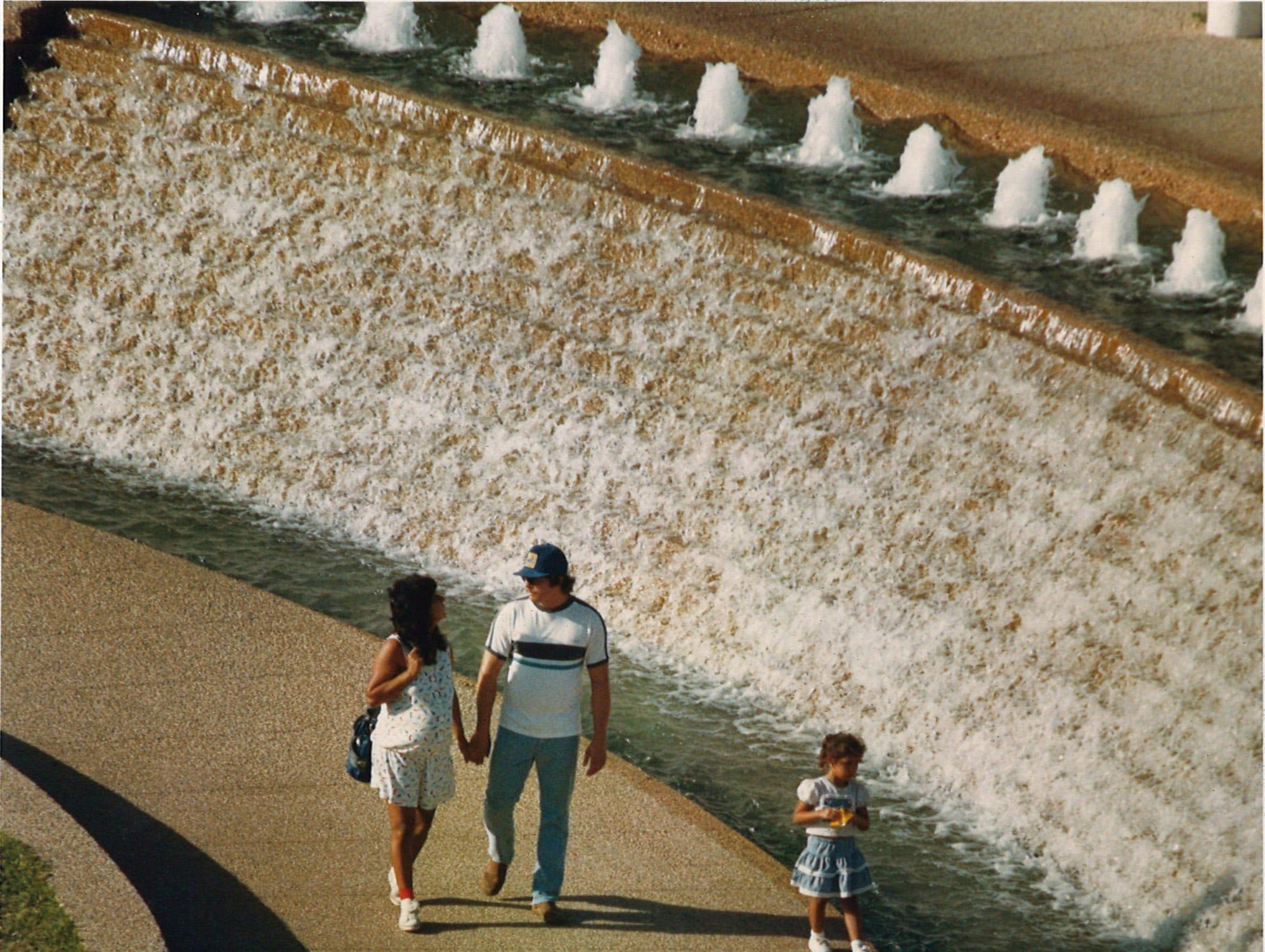 Visitors stroll through the Watergarden in Corpus Christi on Nov. 8, 1988.