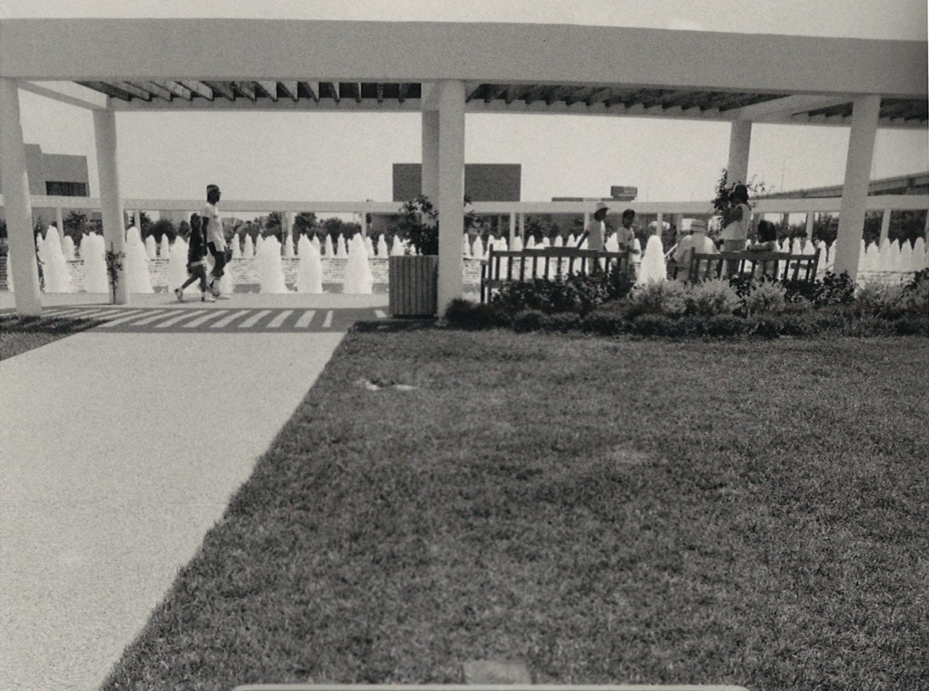 A new warning sign to keep people from swimming and wading in the water at the Corpus Christi Watergarden on July 28, 1988.