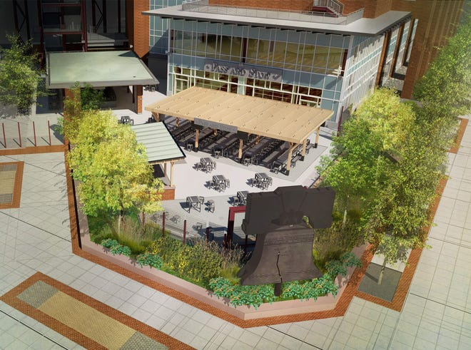 Citizens Bank Park will add the Pass and Stow destination area inside the third base gate. An artist rendering shows a pergola and outdoor bar and beer garden.