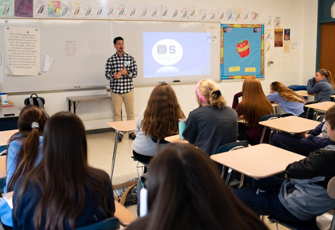 Michael Mauro, operations supervisor for the Pinelands Recovery Center of Medford, visited Shawnee freshman health classes as a part of the #NotEvenOnce Program. The 2009 Cherokee grad shared how his recovery led him to his current position.