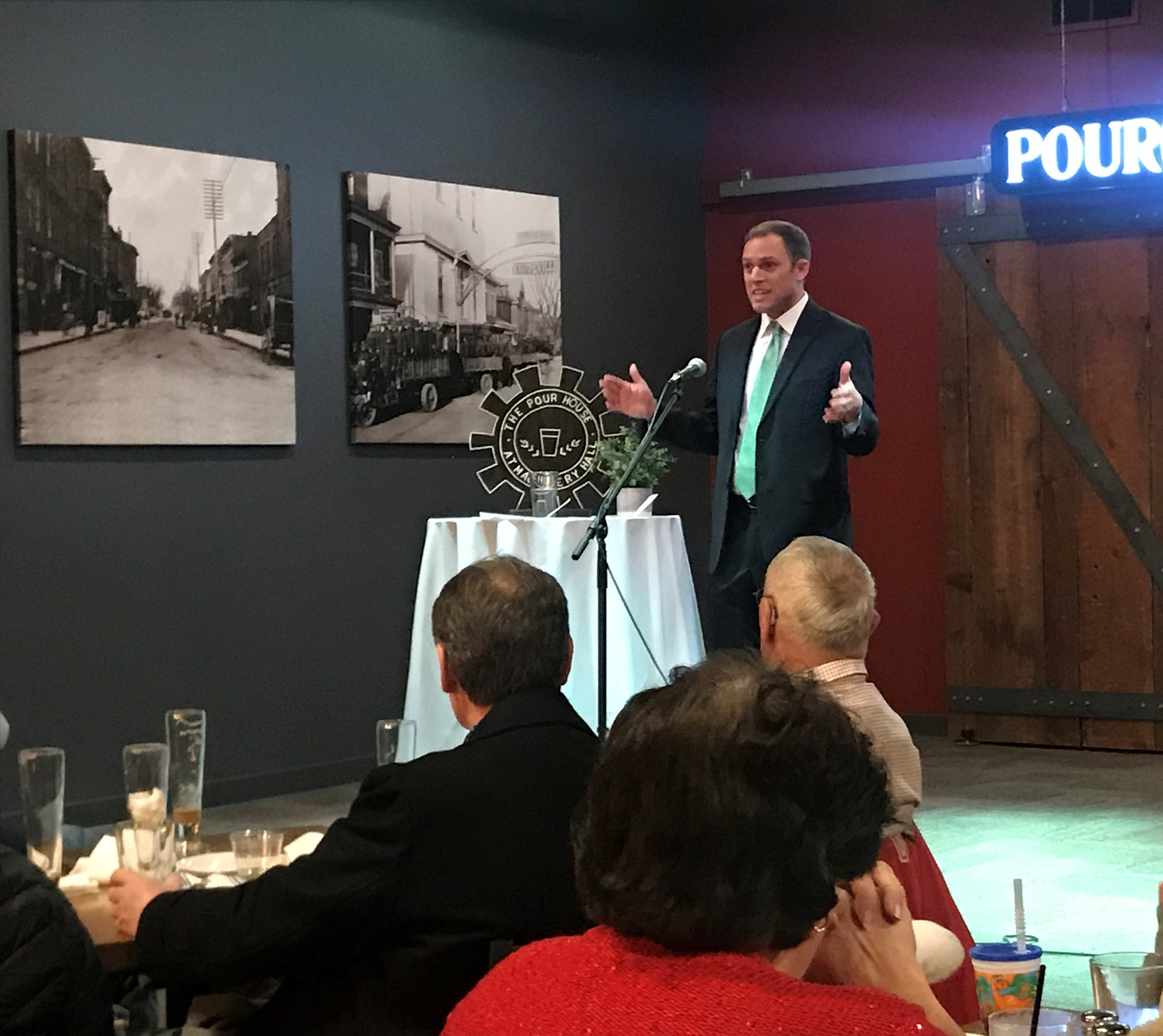 Mayor Luke Feeney delivers his campaign kickoff speech at The Pour House at Machinery Hall on Tuesday, January 22.