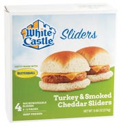 White Castle's new turkey and cheese sliders will be available in grocery stores in March.