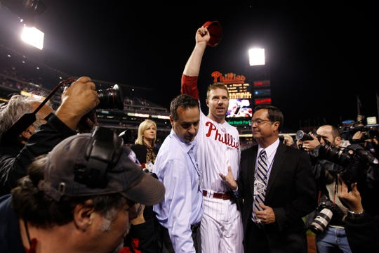 Philadelphia Phillies starter Roy Halladay tips his hat to fans after pitching a no-hitter against the Cincinnati Reds in the first game of their NLDS playoff series at Citizens Bank Park in Philadelphia on Wednesday, Oct. 6, 2010.