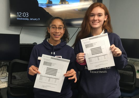 Aryanna Perez, a sophomore at Mount Saint Mary Academy from Union, is pictured left and Catherine Keele, a sophomore from Bridgewater, is pictured right. These students earned a perfect scores on the W!se nationally standardized Financial Literacy Certification Test.