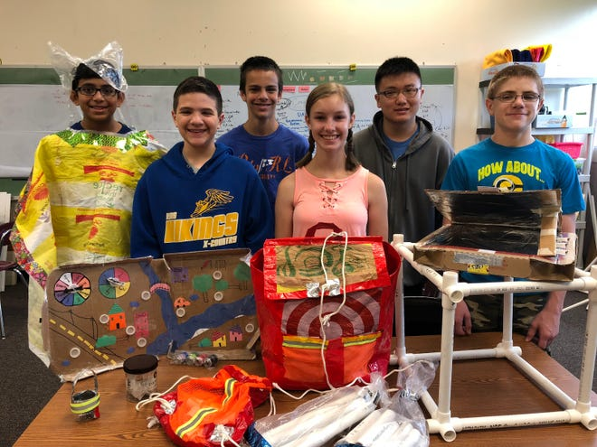 The Catastrophe Care Kit for Kids Team, from left to right: Christopher Serrao, Andrew Leibowitz, Alex Takacs, Natalie Bettermann, Kyle Chen, Dylan Gale. Not pictured: Amelia Watson