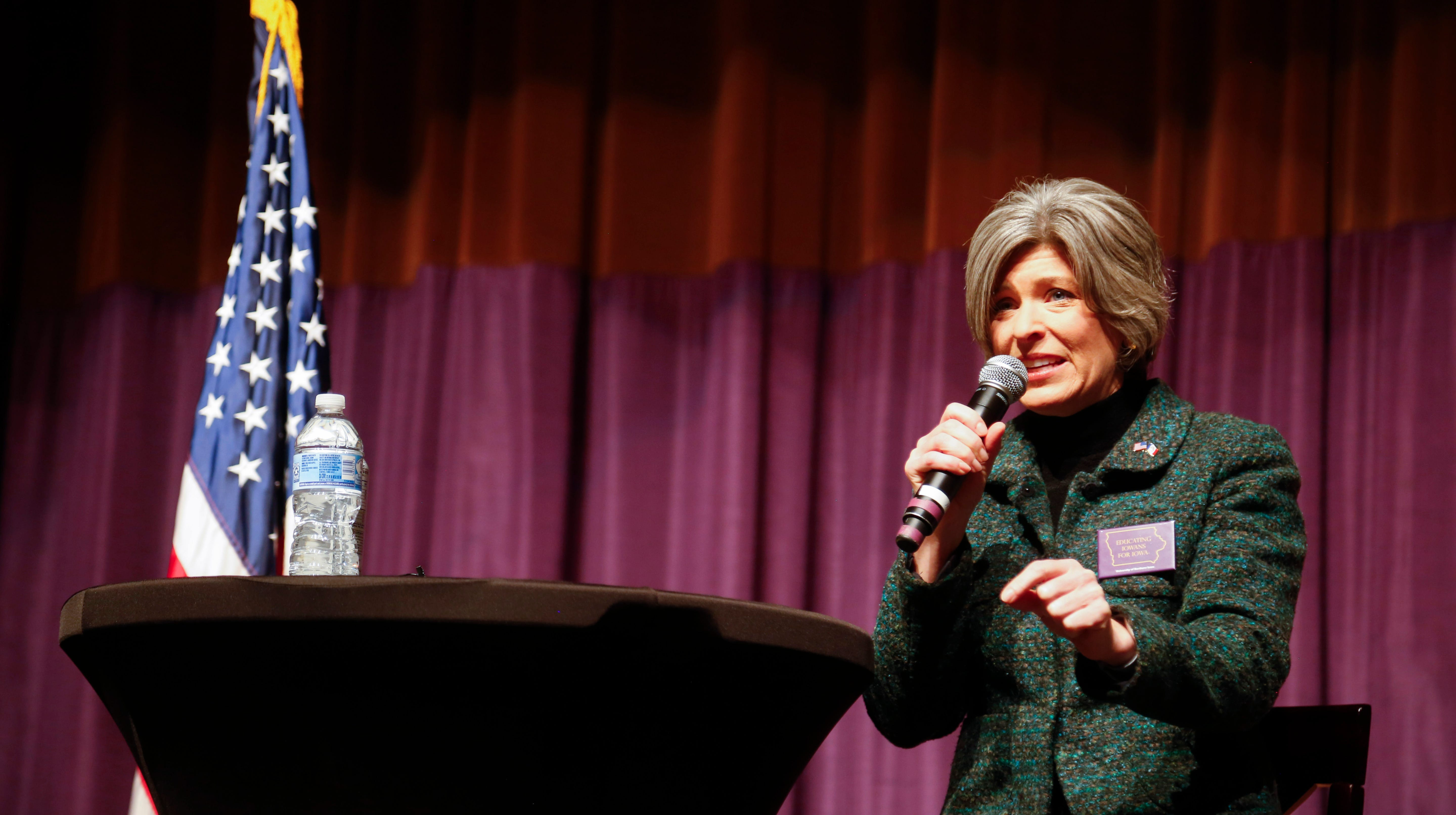 Sen. Joni Ernst, R-Iowa takes questions during a town hall at the University of Norther Iowa Wednesday, Jan. 23, 2019.