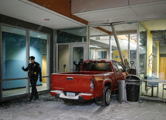 No injuries were reported after a truck drove through a glass window at the Central Iowa Shelter and Services building on Tuesday, Jan. 22, 2019, in Des Moines.