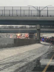 Crashes clog both directions of I-96 near Grand River on Wednesday, Jan. 23, 2019.